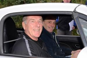 Malcolm McQueen navigates for Drew Wiley in his Mazda MX5