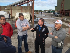 George McMillen and Eric Patterson help some of the novice drivers with tips on how to approach the tests.