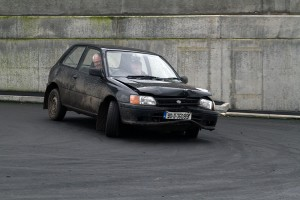 Eamonn Byrne carries evidence of the damage to his car, but still won the event.