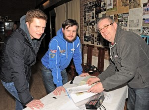 DMC Competition Secretary, Colin Hazelton (Right), gives Joel McFarland and Sean Anthony Conlon a quick explanation of night navigation rallies.