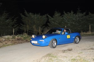 Leslie and Gareth Hawe from Ballygawley had a difficult night and brought their MX5 home third in class.