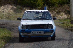 Dougie and Glenn Millar had a great run to take third place in the Novices FWD class in their usual VW Golf GTi.  Photo by Adrian Hanna