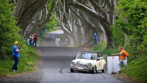 """James Wilson and Roisin Boyd slide sideways to the """"Stop and Collect"""" at the Dark Hedges.  Photo John O'Neill"""