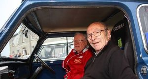 """Flying Finn"" Rauno Aaltonen with Terry Harryman in the navigator seat.  Photo John O'Neill"