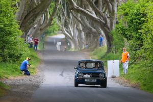 SAM BOWDEN tries his best to keep Norman at bay through the Dark Hedges - Photo John O'Neill