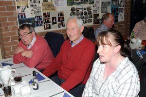 Loyal DMC supporters Norman Ferguson, Harold Hassard and Caroline McGuinness await their supper.