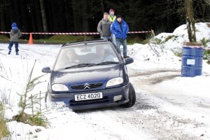 Damien Mooney and Tony Anderson get close to the edge in the Davagh snow!