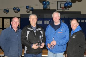 Eamonn Byrne and Derek Smyth receive the trophies for 1st Overall.
